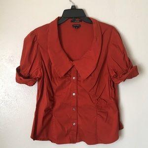 Nine West rust orange stretch blouse size 16